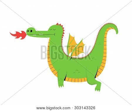 Flying Dragon. Cute Cartoon Dragon Isolated On A White Background. Vector Illustration