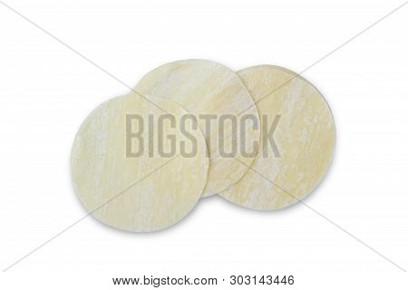 Raw Chinese Dumpling Skins With Flour Isolated On White
