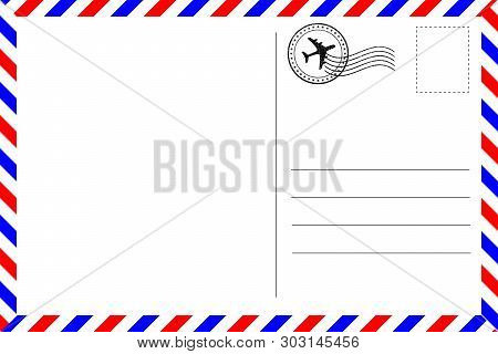 Realistic Vintage Postcard With Red And Blue Borderline