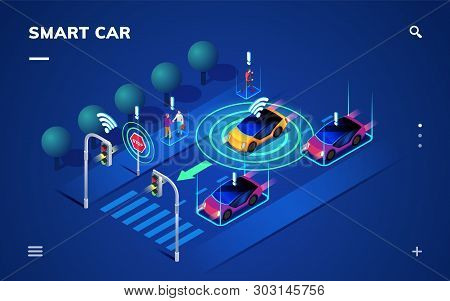 Driverless Or Self Driving Car At Road. Futuristic Autonomous Vehicle Remote Sensing System. Isometr