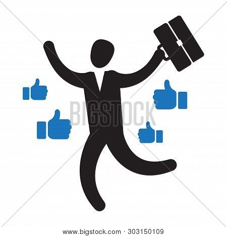 Businessman With Many Thumbs Up Hands Around Him. Business Compliment Concept. Vector Illustration I