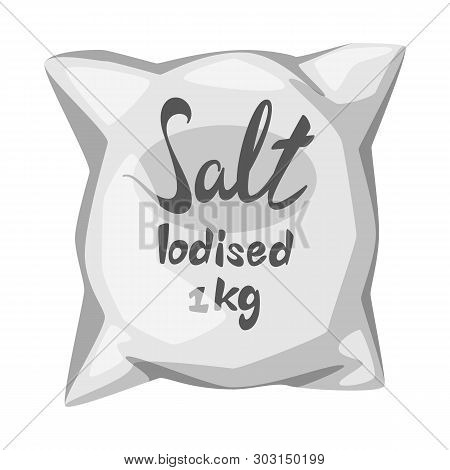 Vector Illustration Of Bag And Salty Sign. Collection Of Bag And Powder Stock Symbol For Web.