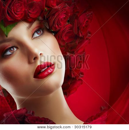 Fashion Model Portrait with Red Roses