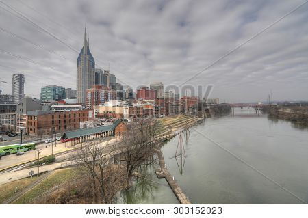 Nashville,tennessee/united States - January 10: A View Of The Nashville, Tennessee Downtown [january