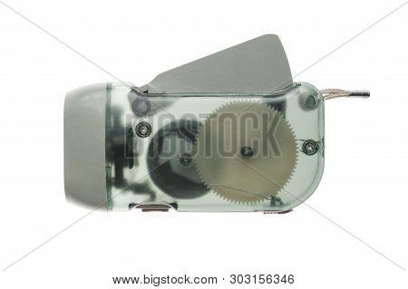 Flashlight With Dynamo Generator Isolated On White Background