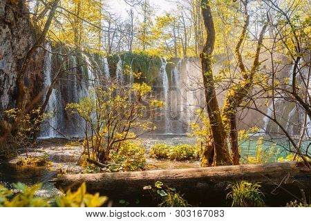 Beautiful Landscape Of Waterfalls And Lake Of National Park Of Plitvicka Lakes In Croatia.