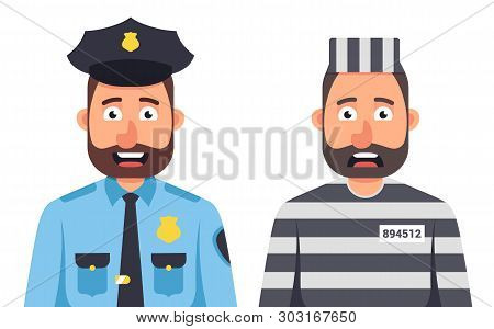 Prisoner In Prison Striped Form On A White Background. Prison Guard. A Policeman In A Cap. Character