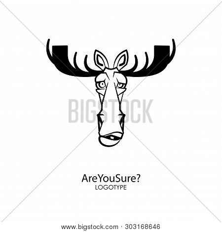 The Head Of A Funny Serious Moose With Big Horns. Sticker, Pattern, Background, Decoration. Vector I