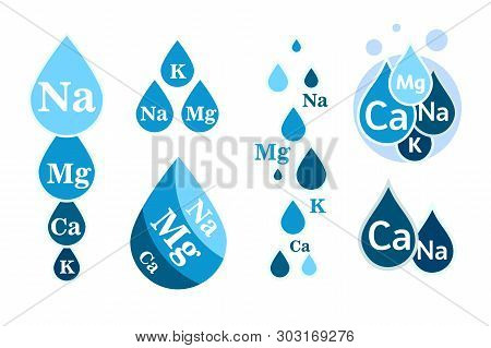 Set Of Mineral Water Icon. Blue Drops With Mineral Designations. Simple Flat Logos Template. Healthy