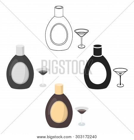 Chocolate Liqueur Icon In Cartoon, Black Style Isolated On White Background. Alcohol Symbol Stock Ve