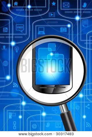 phones, social media icons and a magnifying glass in cyberspace