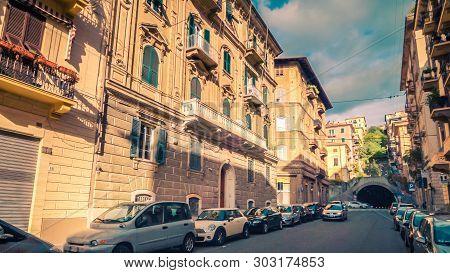 La Spezia, Italy - November 13th: Street And Buildings In City Of La Spezia, Italy On November 13th,