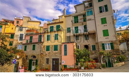 Corniglia, Italy - November 14th: Colorful Apartment Houses In The Cinque Terre Village Of Corniglia