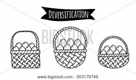Different Baskets With Eggs As Illustration Of Idea Of Financial Risks Diversification
