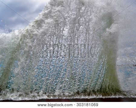 Wave Splash Crash Of Sea Beach, Breaking Of Ocean Big Wave Water Splash Closeup. Sea Raging, Tropica