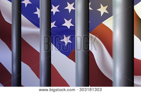 Background Prison, Jail In United States Of America. Oppressive And Repressive Penal System Of Deten