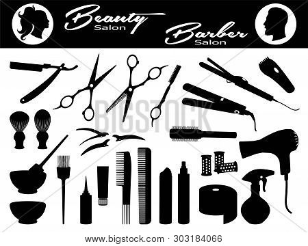 Beauty Salon And  Barber Salon. Set Hairdressing Related Symbols. Hairdressing Equipment And Accesso