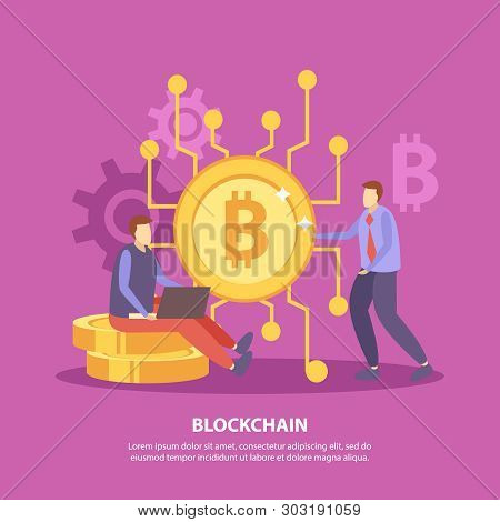 Initial Coin Offering Flat Pink Background Poster With Ico Bitcoin Blockchain Crypto Currency Fundra