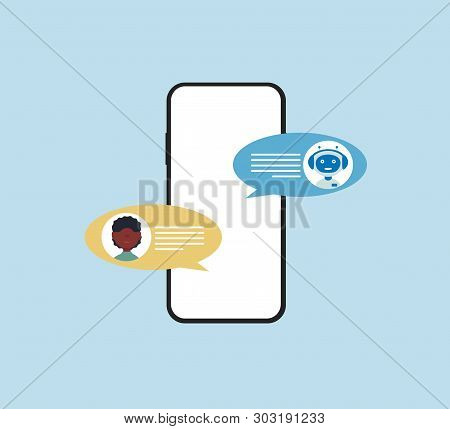 Chatbot Concept. Afro Man Chatting With Chat Bot On Smartphone. Flat Vector Design Style Minimalisti