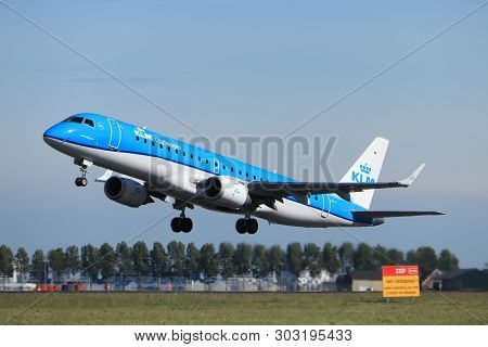 Amsterdam The Netherlands - May 24th, 2019:ph-exy Klm Cityhopper Embraer Erj-190 Takeoff From Polder