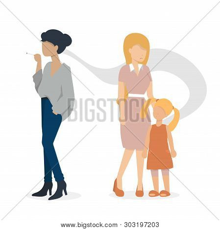 Woman Smoking A Cigarette. Mother And Baby Are Standing Nearly. Flat Vector Illustration