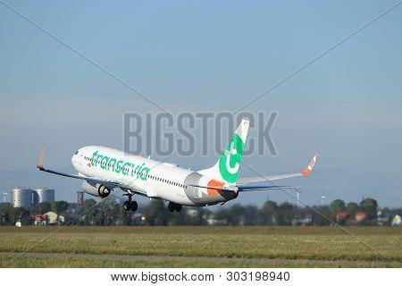 Amsterdam The Netherlands - May 24th, 2019: Ph-guv Transavia Boeing 737-800 Takeoff From Polderbaan