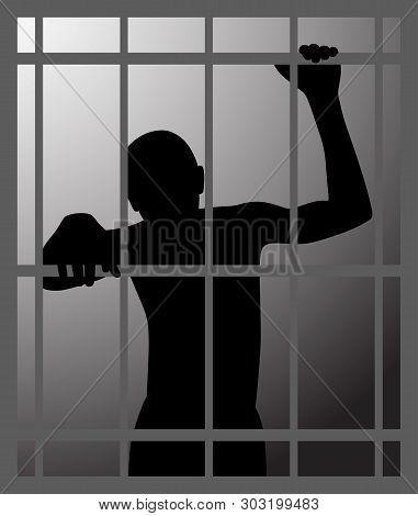 Man In Dark Dungeon Or Prison Behind Bars
