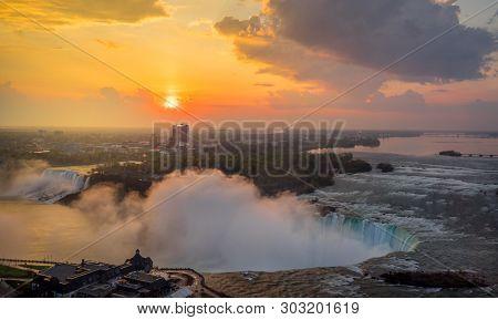 Panorama View Of Niagara Falls From Canada With Beautiful Sunrise