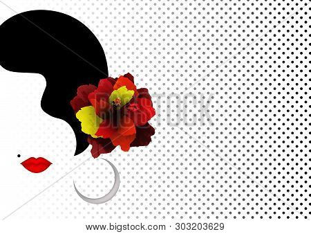 Beautiful Spanish Or Latin Woman Silhouette Whit Red Hibiscus Flowers And Sexy Red Lips. Beauty Logo