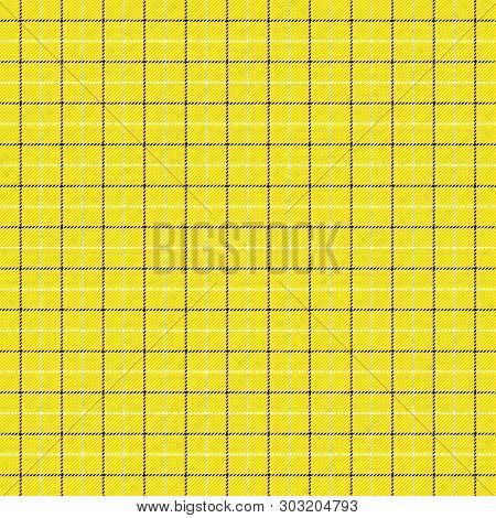 Tartan Tattersalls Plaid. Scottish Pattern In Black And Yellow Cage. Scottish Cage. Traditional Scot