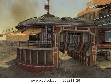 An Illustration Of An Abandoned Outpost In The Desert. 3d Illustration.
