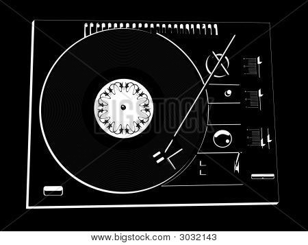 Black Vinyl Dj'S Deck