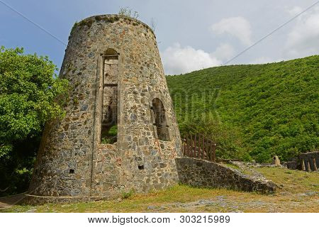 Windmill Ruin In Annaberg Sugar Plantation In Virgin Islands National Park At Saint John Island, Us