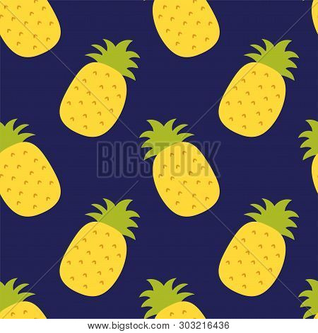 Pineapple Seamless Pattern. Hand Drawn Fresh Ananas. Vector Sketch Background. Color Exotic Tropical