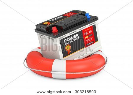 Car Battery Service Concept. Rechargeable Car Battery 12v Accumulator With Abstract Label Over Lifeb