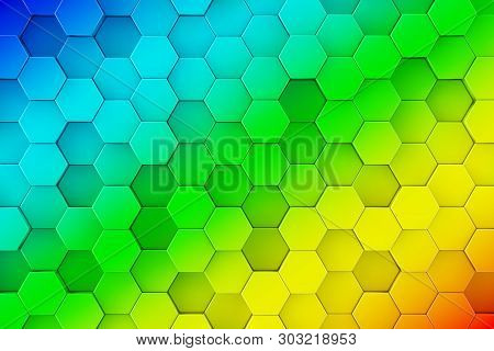 Colourful Rainbow Abstract Honeycomb Hexagone Background Texture Extreme Closeup. 3d Rendering