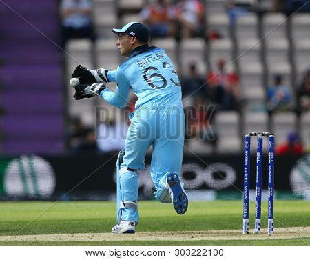 SOUTHAMPTON, ENGLAND. 25 MAY 2019: Wicketkeeper Jos Buttler of England  during the England v Australia, ICC Cricket World Cup warm up match,