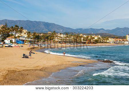 La Cala De Mijas, Spain, April 02, 2018: Seaside Promenade In La Cala De Mijas, Costa Del Sol, Spain