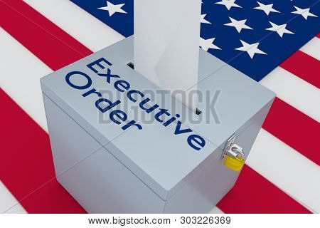 3d Illustration Of Executive Order Script On A Ballot Box, With Us Flag As A Background.