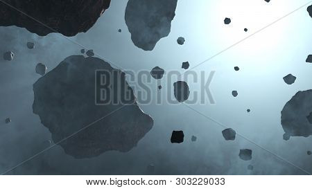 3d Illustration Of Some Large And Small Asteroid Rocks Inside A Light Blue Fog With The Cold Blue Gl