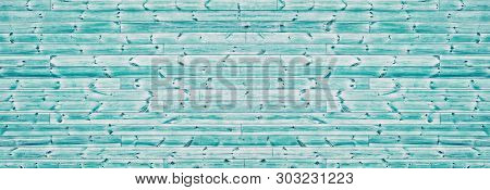 Teal Color Knotty Rough Wood Wide Texture. Horizontal Wooden Board Panorama. Panoramic Vintage Backg