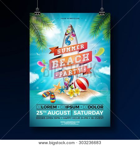 Summer Beach Party Flyer Design With Flower, Beach Ball And Surf Board. Vector Summer Nature Floral