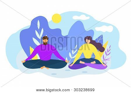 Cartoon Man And Woman Meditate Outdoors. Nature Harmony Vector Illustration. Yoga Class Practice, In