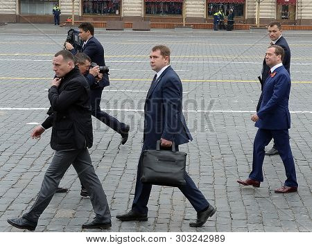 Moscow, Russia - May 9, 2019: Dmitry Medvedev, Prime Minister Of The Russian Federation, On Red Squa