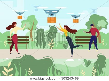 Cartoon Man Woman Recieve Mail. Air Drone Delivery Outdoors Vector Illustration. People In Park. Sky