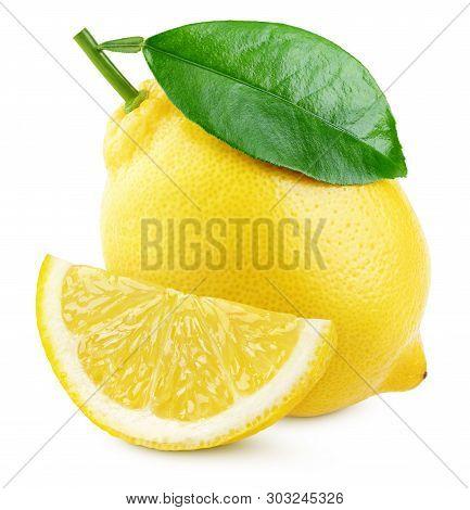 Ripe Yellow Lemon Citrus Fruit With Green Leaf And Slice Isolated On White Background. Lemons With C