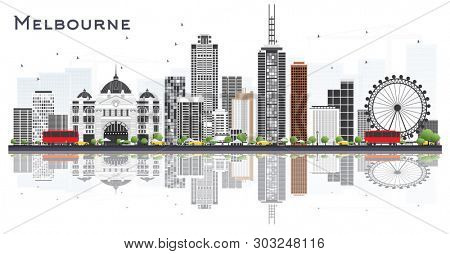 Melbourne Australia City Skyline with Gray Buildings and Reflections Isolated on White Background. Tourism Concept with Modern Buildings. Melbourne Cityscape with Landmarks.