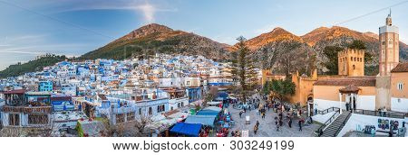 Chefchaouen, Morocco - Feb 18 2018 : Panorama Of Chefchaouen, Morocco. Blue City. Traveling Through
