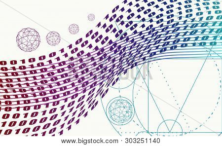 Abstract Background With Stripes Or Curves. Lines Pattern. Backdrop For Presentation. Algorithm Bina