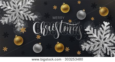 Christmas Greeting Card,  Web Banner, Vector  Black Background. Gold And Silver Christmas Ball, With